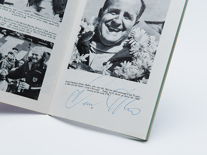 1968 Martini Trophy Programme - Signed by Denny Hulme