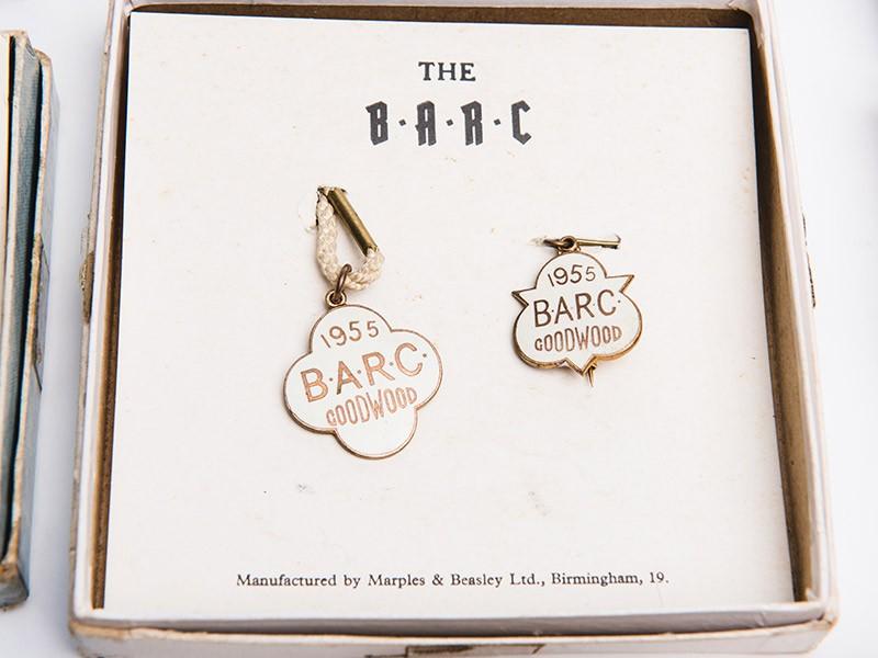 Original complete set of BARC Goodwood badges