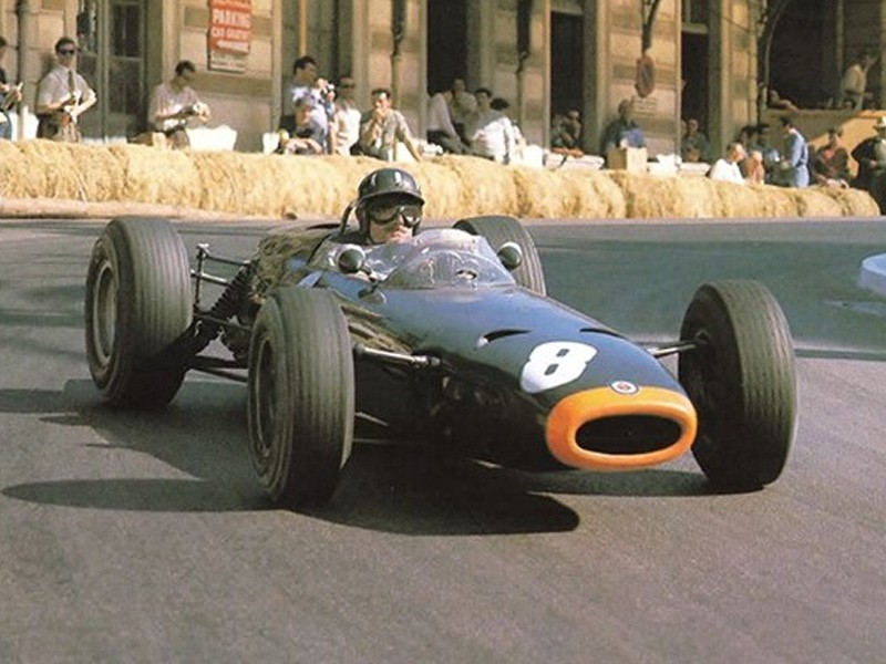 Graham Hill on his way to victory at the 1964 Monaco Grand Prix