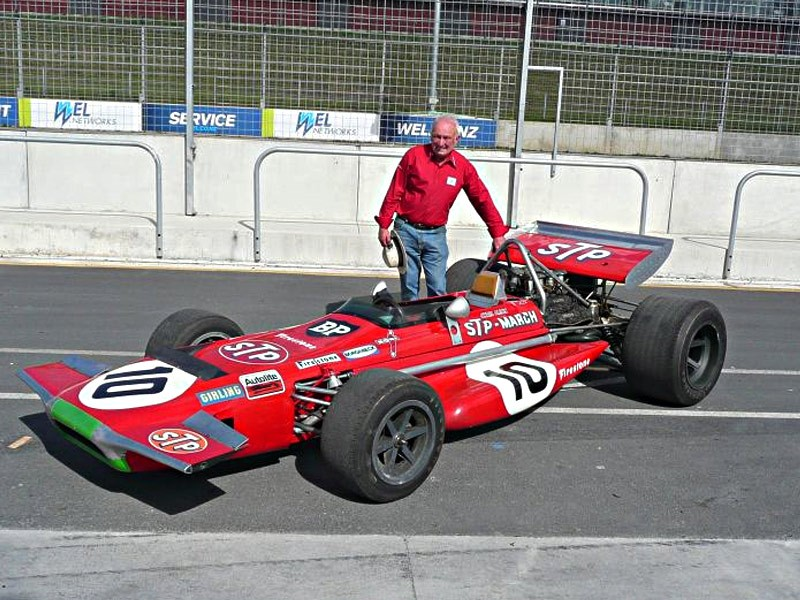 Chris Amon at Hampton Downs, January 2011- the day he signed the limited edition prints.