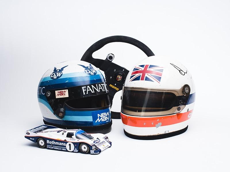The helmets of Klaus Ludwig & Derek Bell