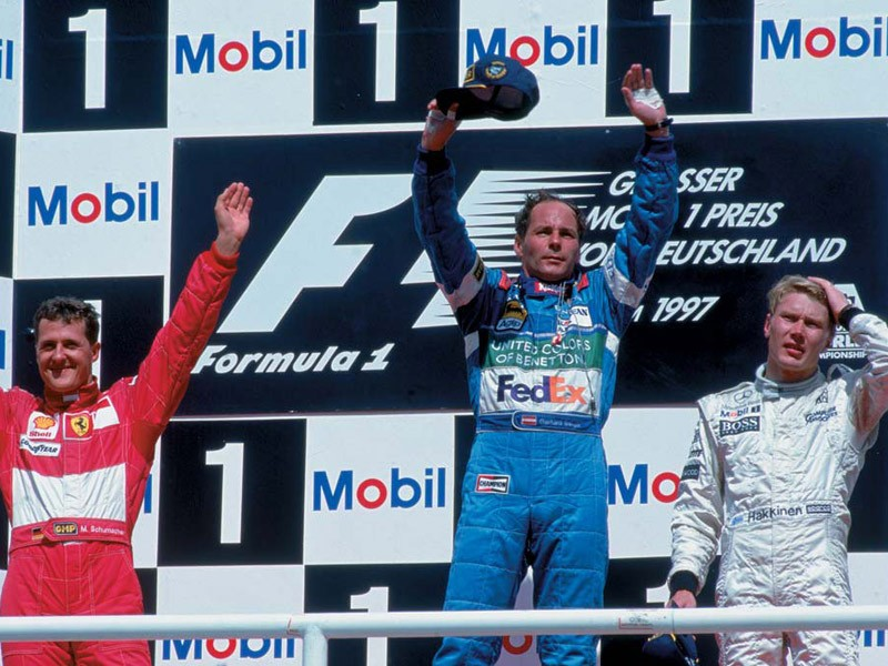 Gerhard Berger on the 1997 German Grand Prix podium