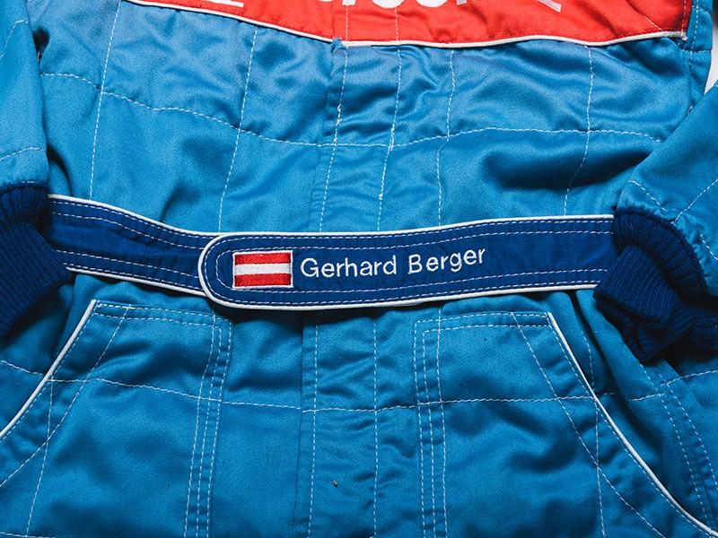 Gerhard Berger signed 1996 Benetton F1 overalls