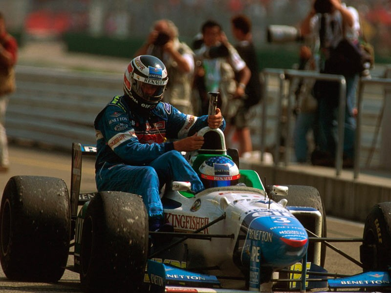 Gerhard Berger at Hockenheim in 1996