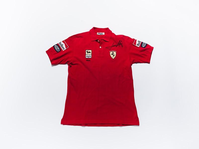 Jean Alesi signed Ferrari F1 polo shirt