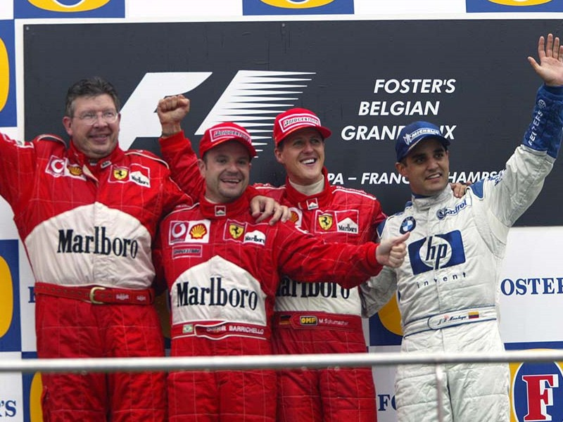 Michael Schumacher wins the 2002 Belgian Grand Prix