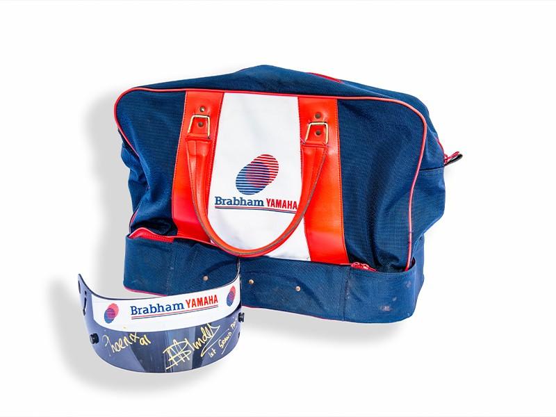 Mark Blundell Tyrrell visor & kit bag