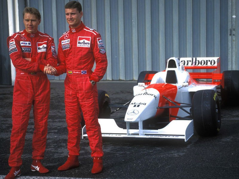 Mika Hakkinen with David Coulthard, 1996